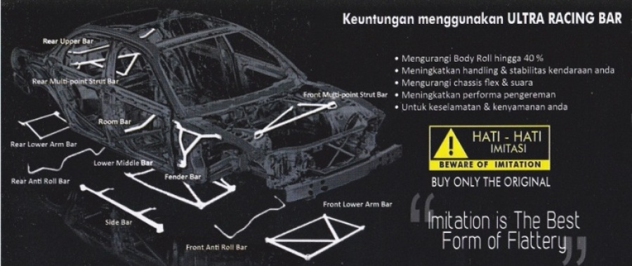 :: ULTRA RACING AUTHORIZED DISTRIBUTOR INDONESIA :: Frontbar / Strutbar - Fenderbar - Lowerbar -  Sidebar - Anti roll bar -  Swaybar - Rearbar -  Roombar